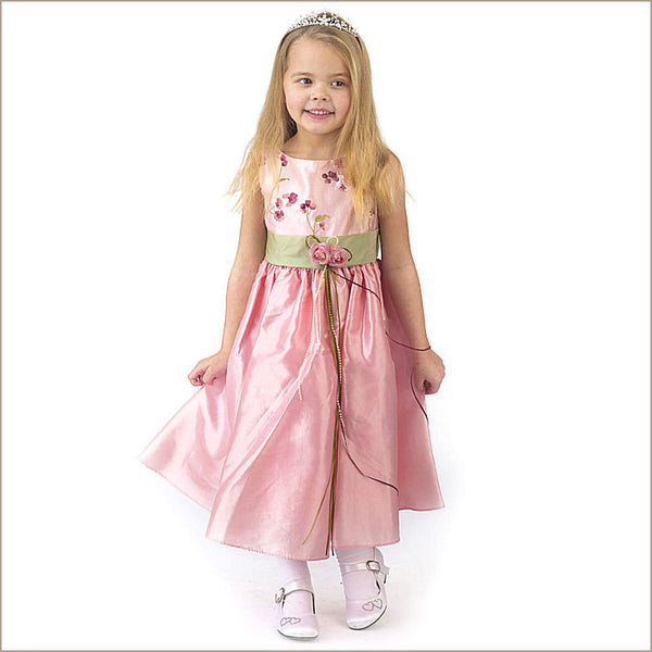 pink and sage green flower girl dress