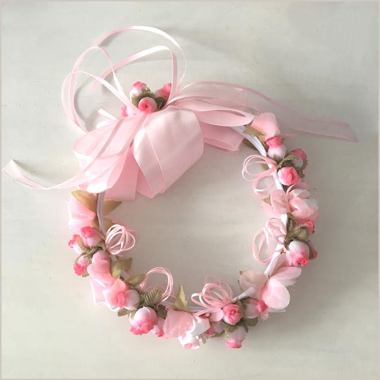 Floral Crown with Bow in Pink 47