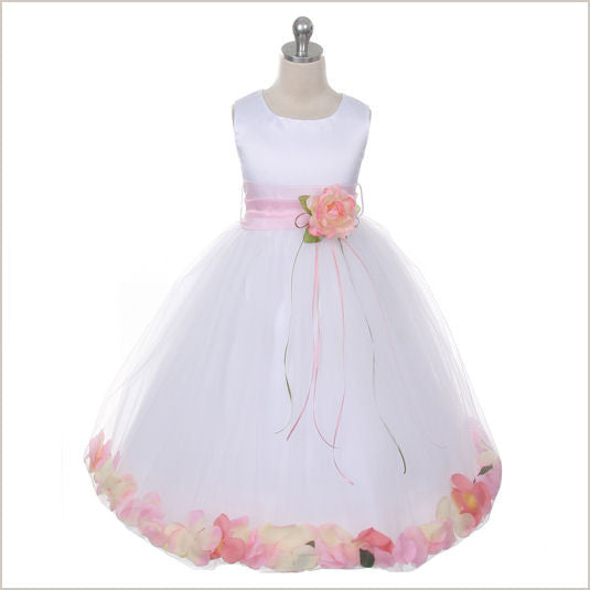 Ivory Petal Dress with Pink Petals - 5 weeks delivery