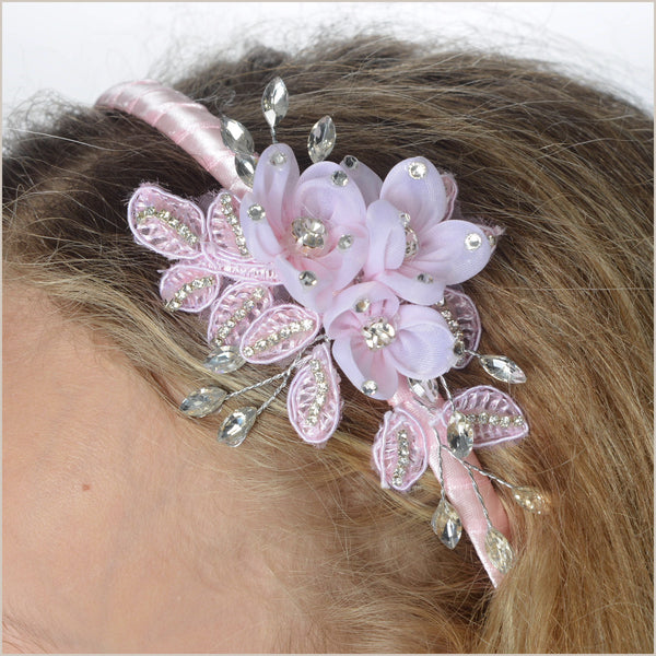 Baby Pink Alice Band with Diamantes & Flowers