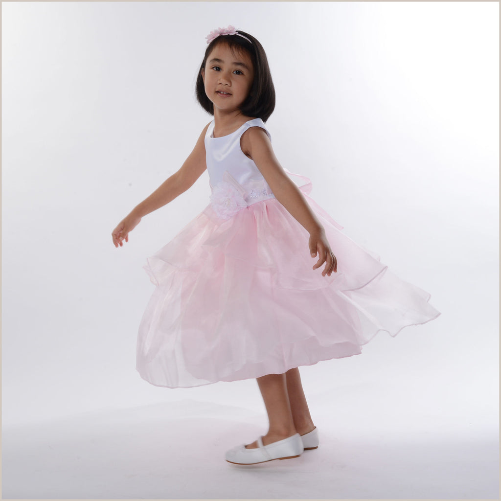 Zoe Pink and White Tiered Organza Flower Girl Dress