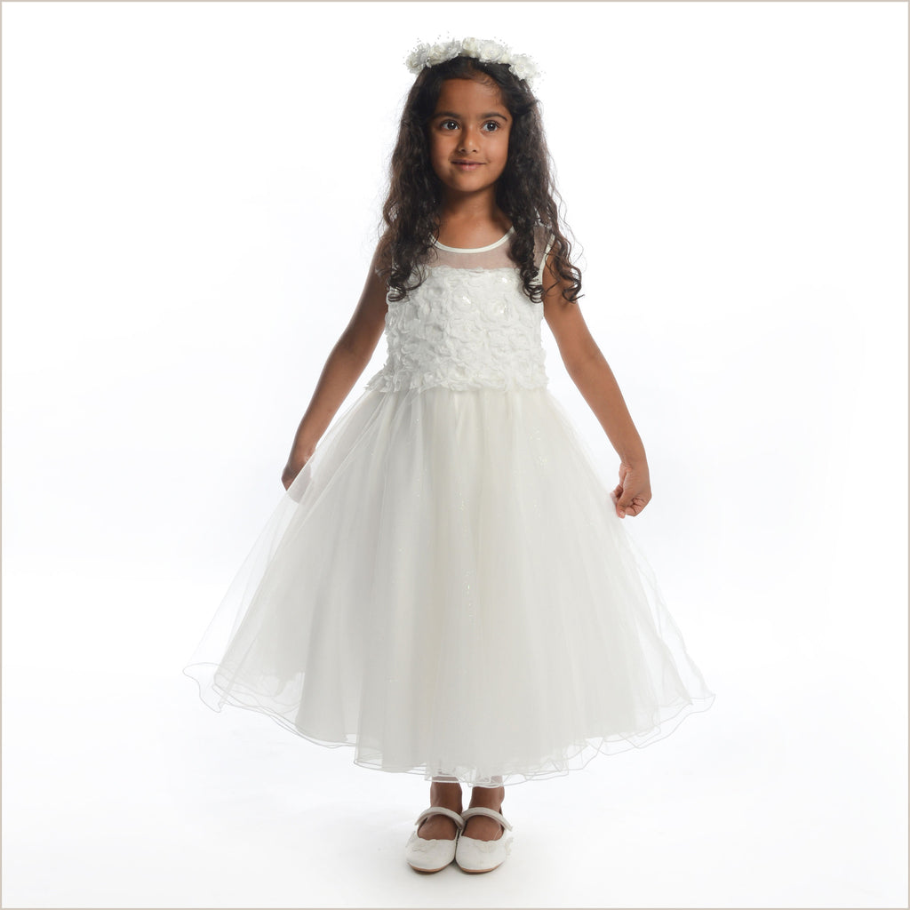 Pippa Pale Ivory Flower Girl Dress with Rose Bodice