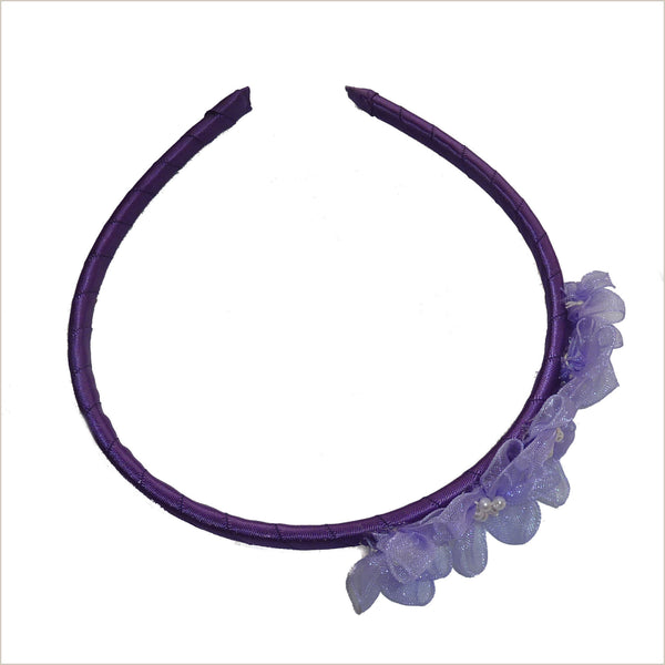 Purple Hairband with Lilac Organza Flowers