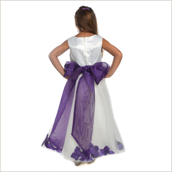 Ivory Petal Dress with Purple Eggplant Petals