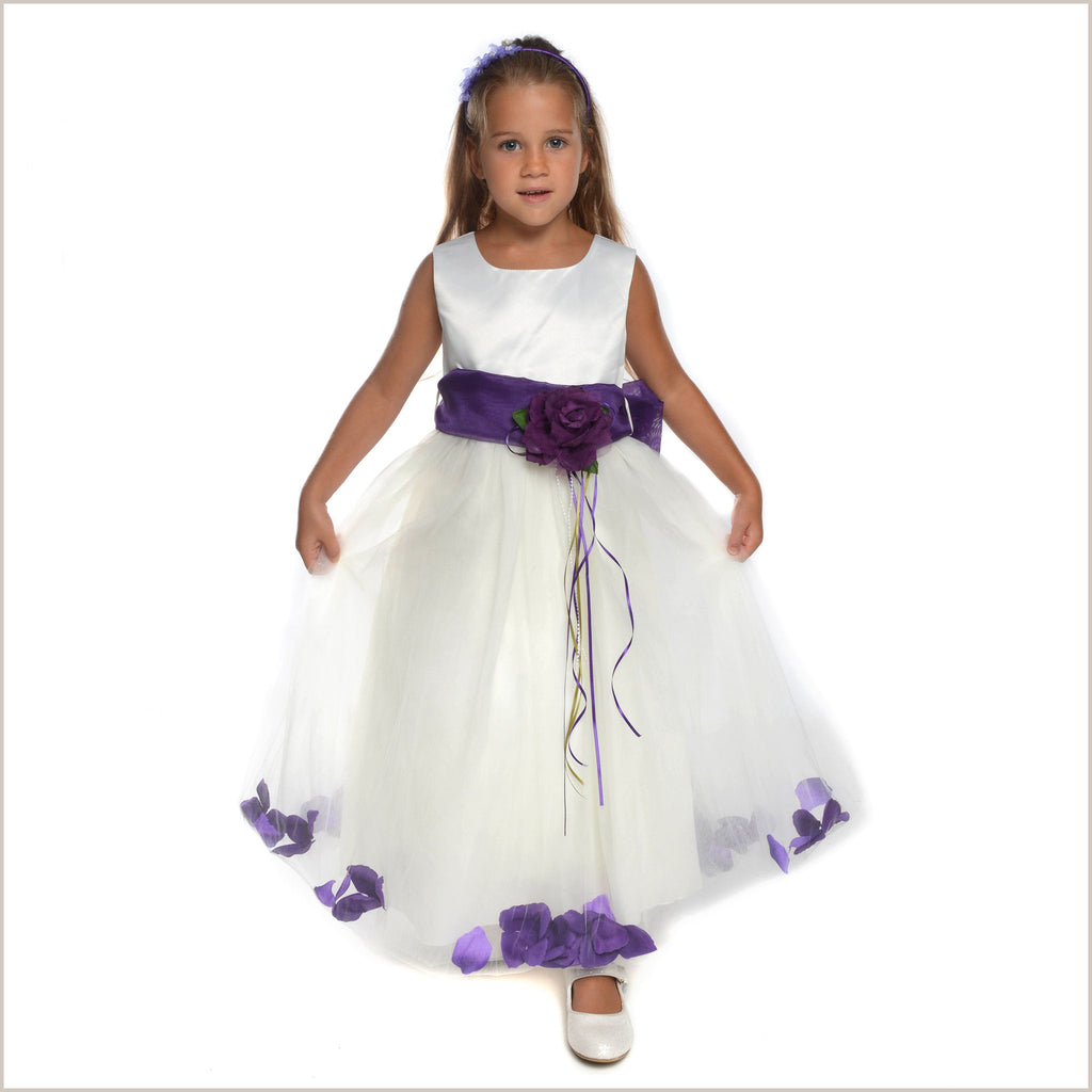 Ivory Petal Dress with Purple Eggplant Petals -5 weeks for DELIVERY