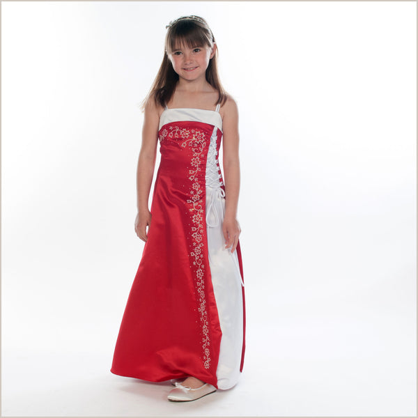 tamsin red and white long junior bridesmaid dress 8 10 12