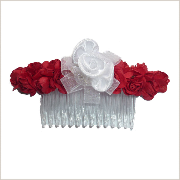 Red & White Flower Hair Comb