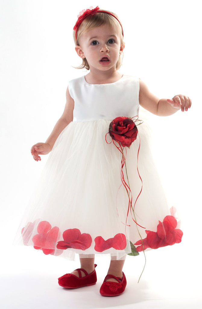 Ivory Petal Dress with Red Petals -5 weeks for DELIVERY