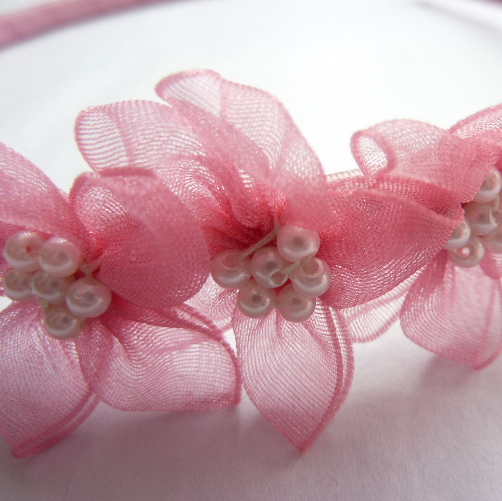 Dusty Rose Pink Hairband with Organza Flowers