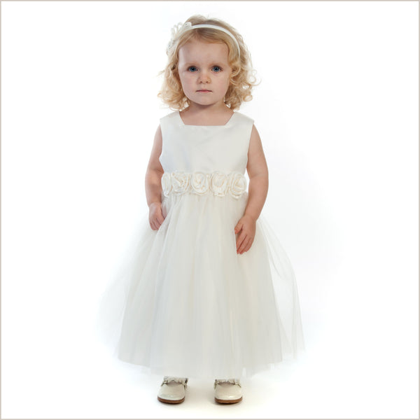 "Rosa Flower Girl Dress in Ivory LAST ONE - WIDE 7y (27"" chest)"