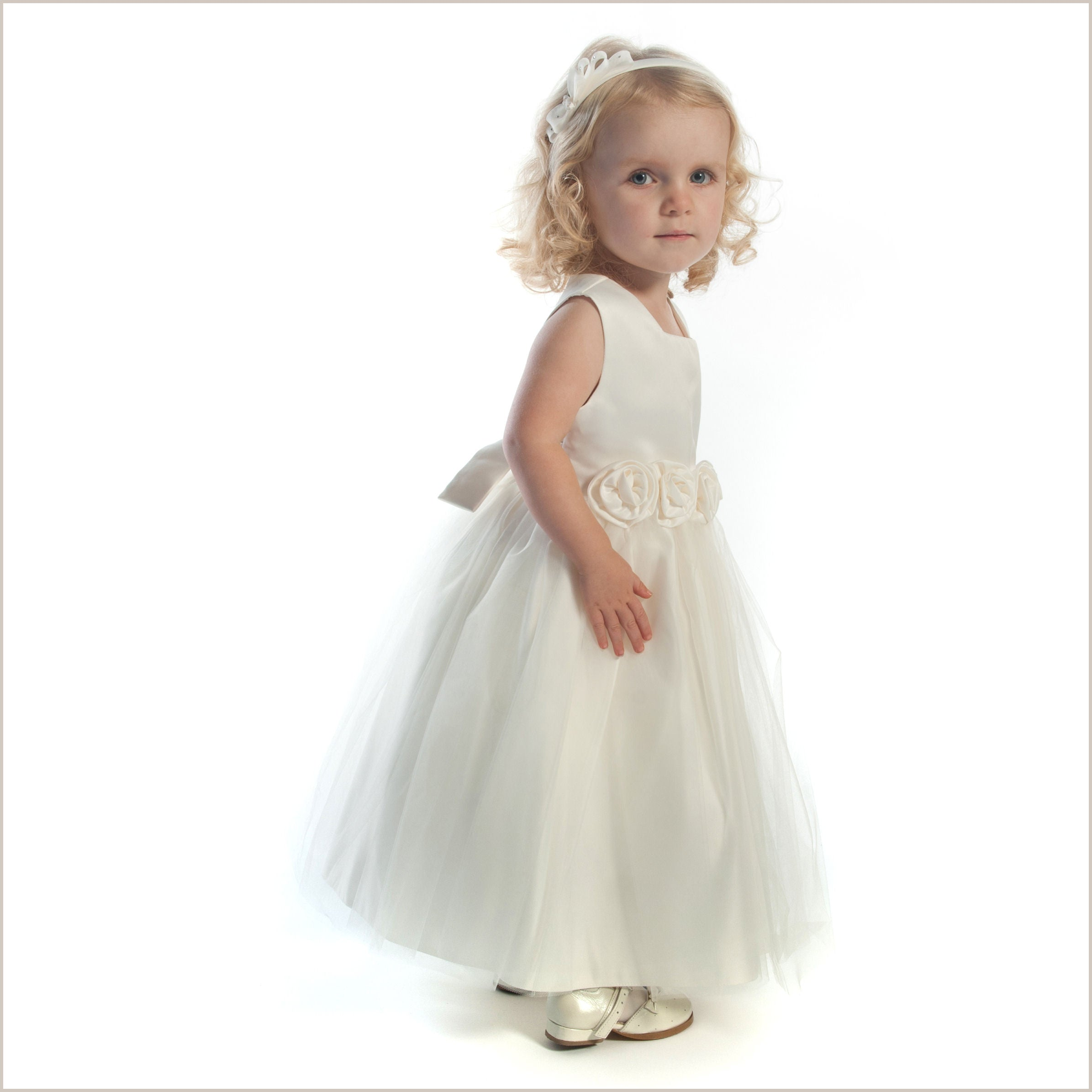 Ivory tulle rolled rose flower girl dress extra wide