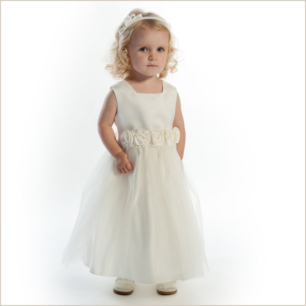 Ivory tulle rolled rose flower girl dress extra wide Demigella Flower Girl
