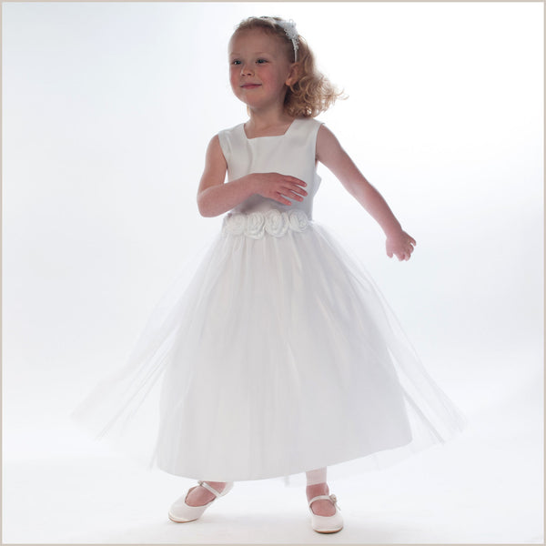 Rosa Flower Girl Dress in White Plus Sizes