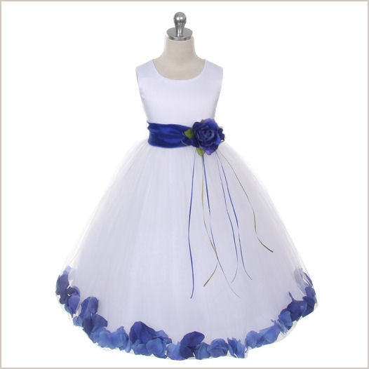 Ivory Petal Dress with Royal Blue Petals -5 weeks for DELIVERY