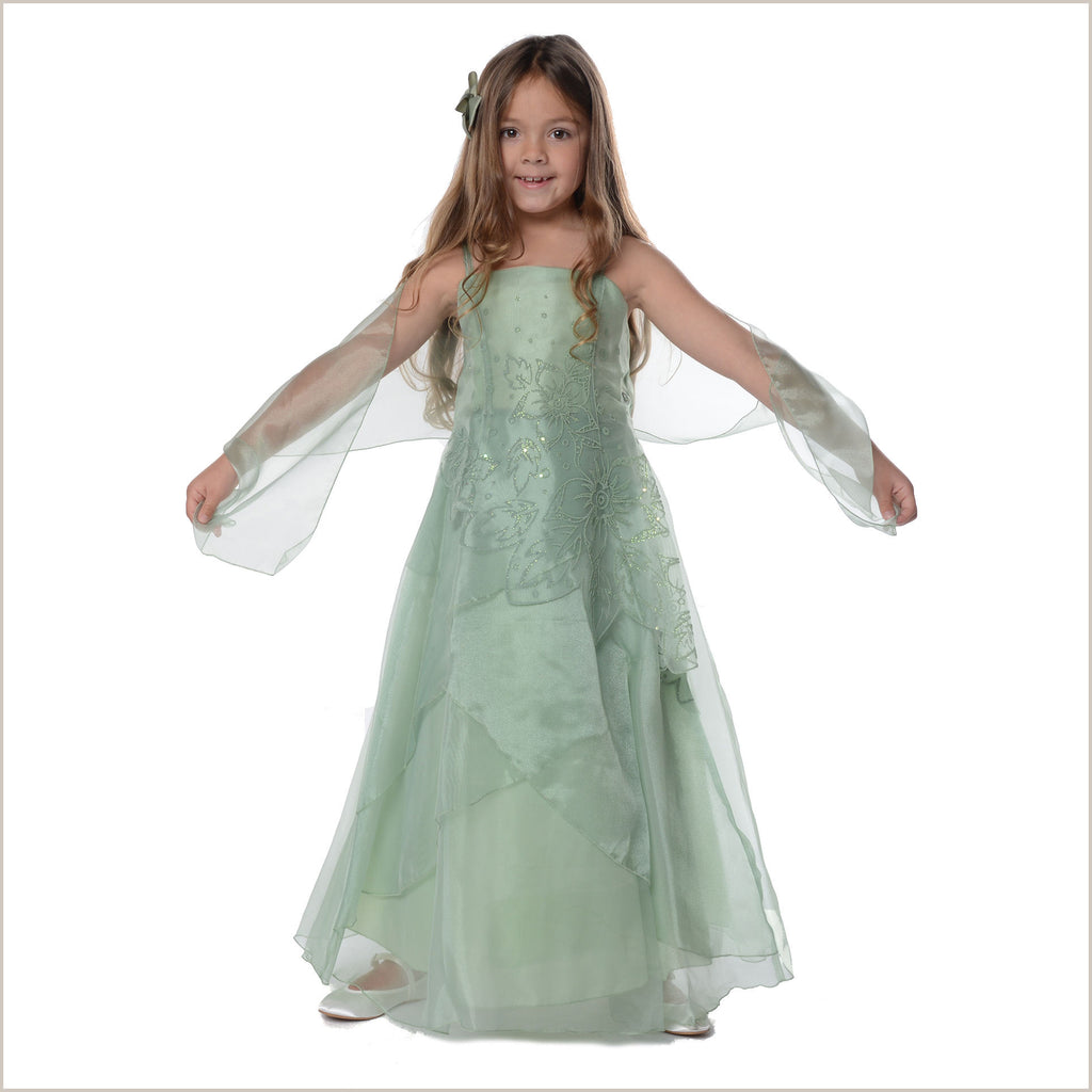 Jessica Sage Green Long Organza Dress with Caviar Beading