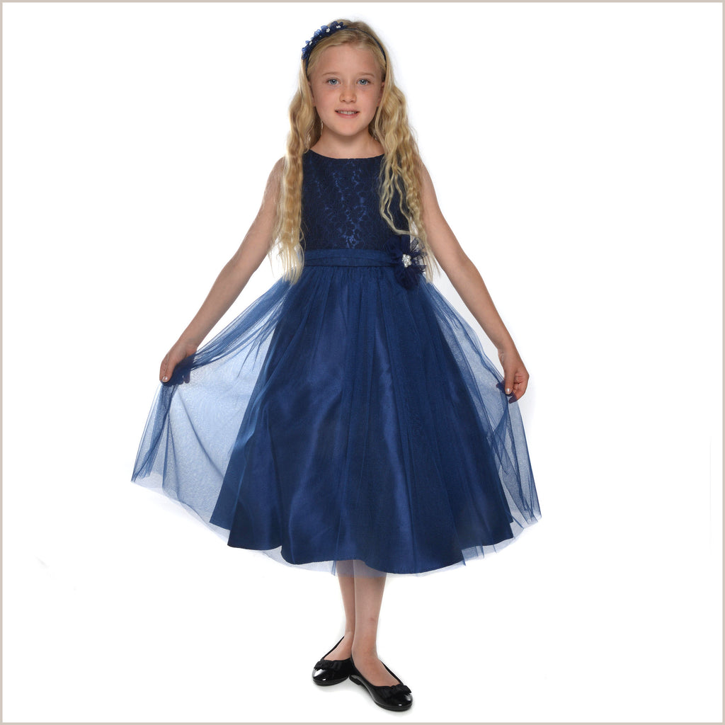 Sapphire Navy Blue Lace Flower Girl Dress