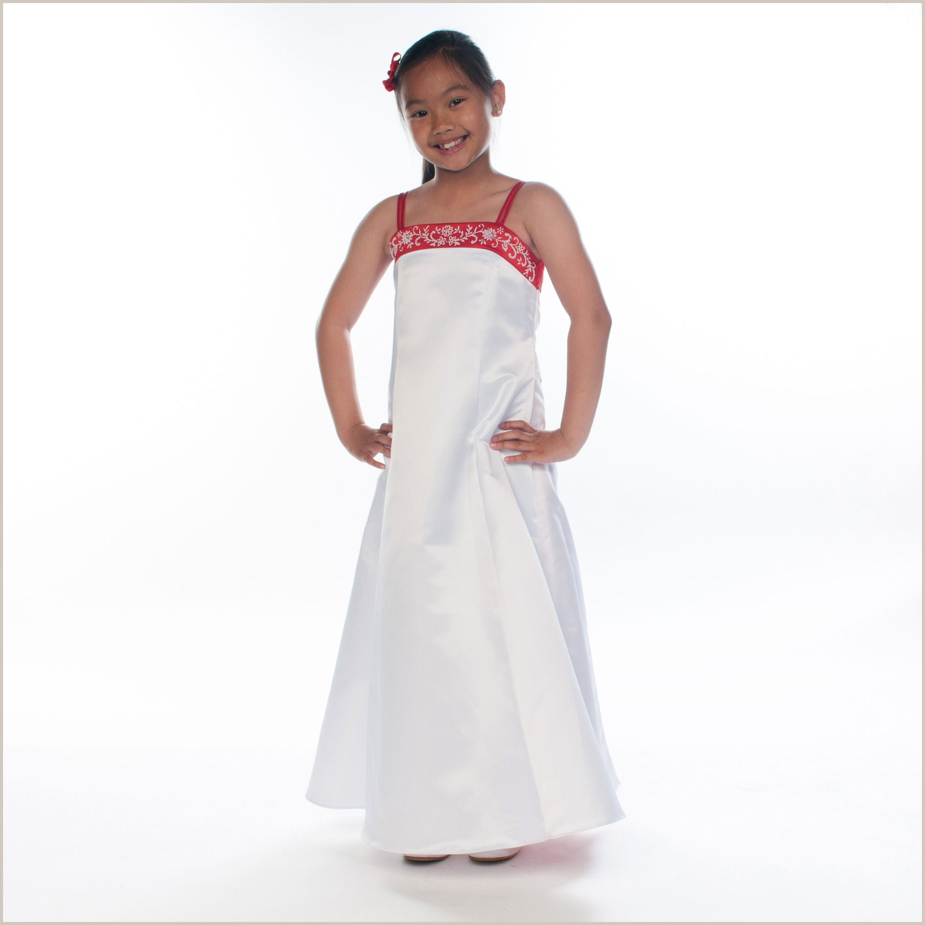 Selina red and white satin bridesmaid dress for children with shawl selina red and white satin bridesmaid dress ombrellifo Image collections