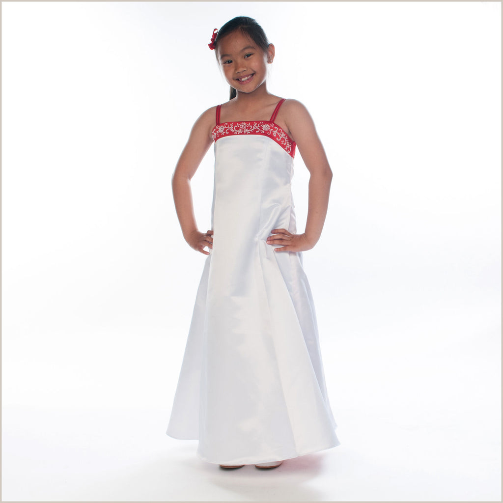 Selina Red and White Satin Bridesmaid Dress