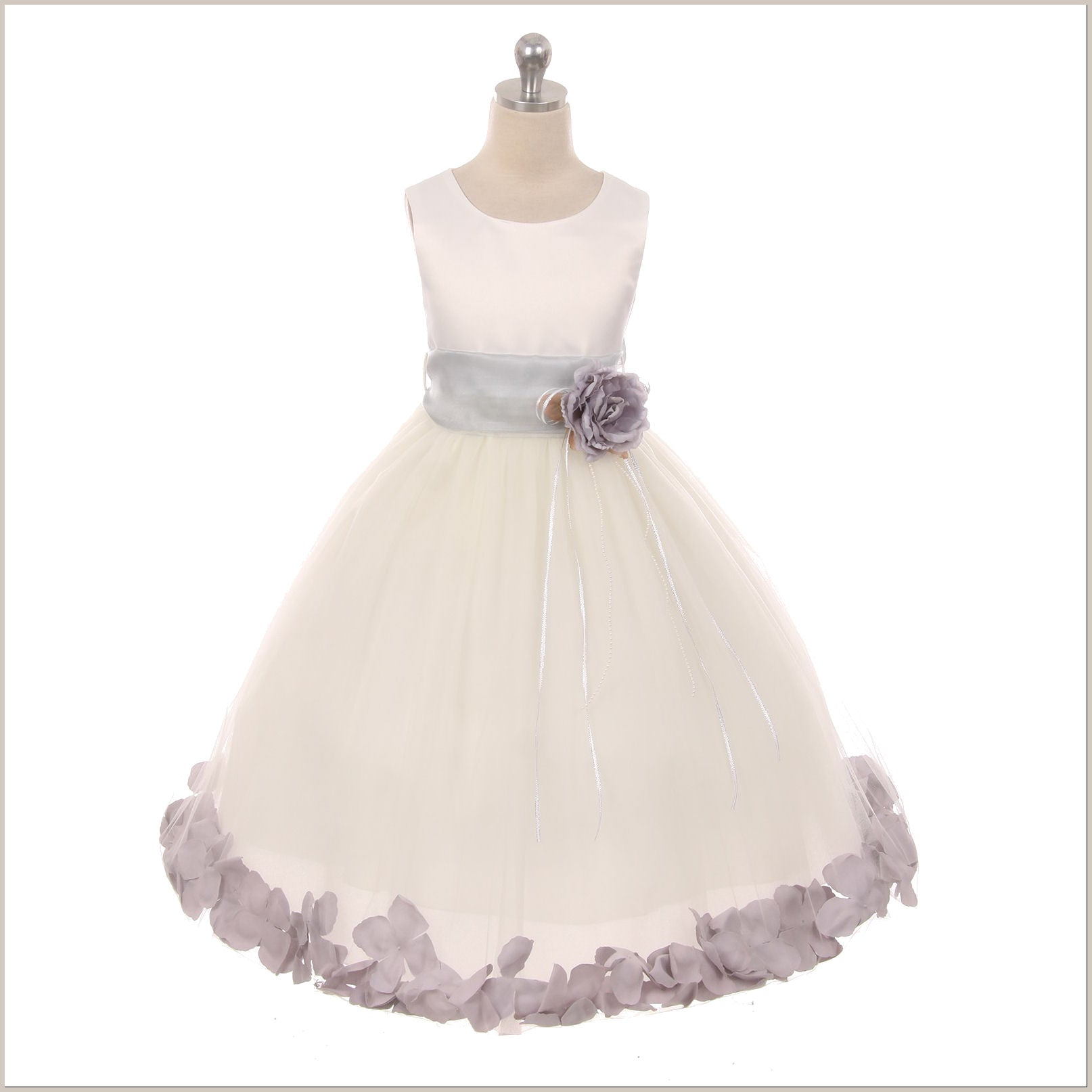 Flower girl dress with petals in choice of colours ivory petal dress with silvergrey petals 5 weeks for delivery mightylinksfo