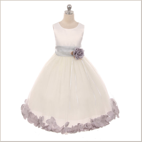 Ivory Petal Dress with Silver/Grey Petals - 5 weeks for DELIVERY
