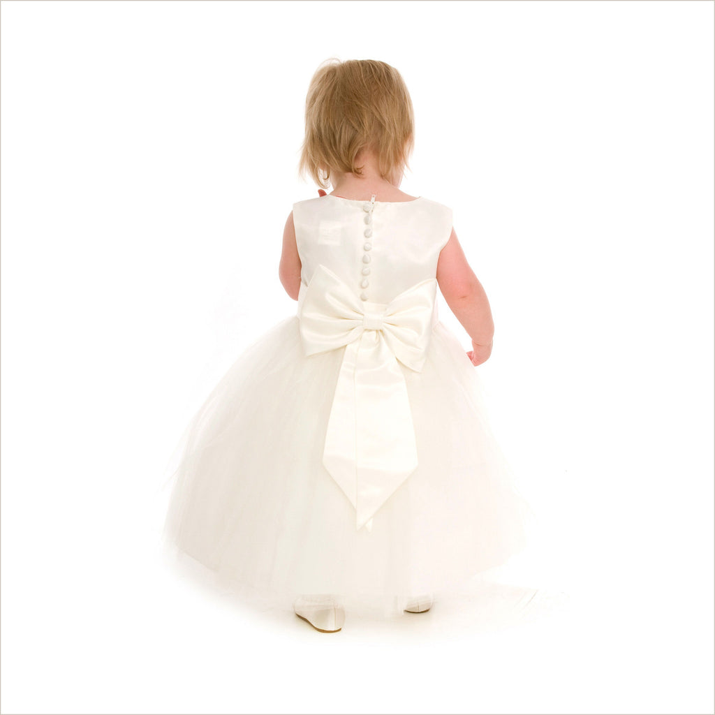 Ivory tulle flower girl dress in princess style sash Demigella Flower Girl