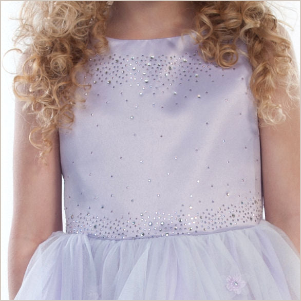 Sparkle Diamante Flower Girl Dress in Lilac