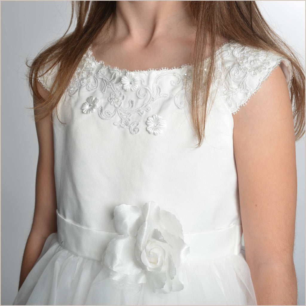 Kelly Flower Girl Dress in Ivory With Lace Collar