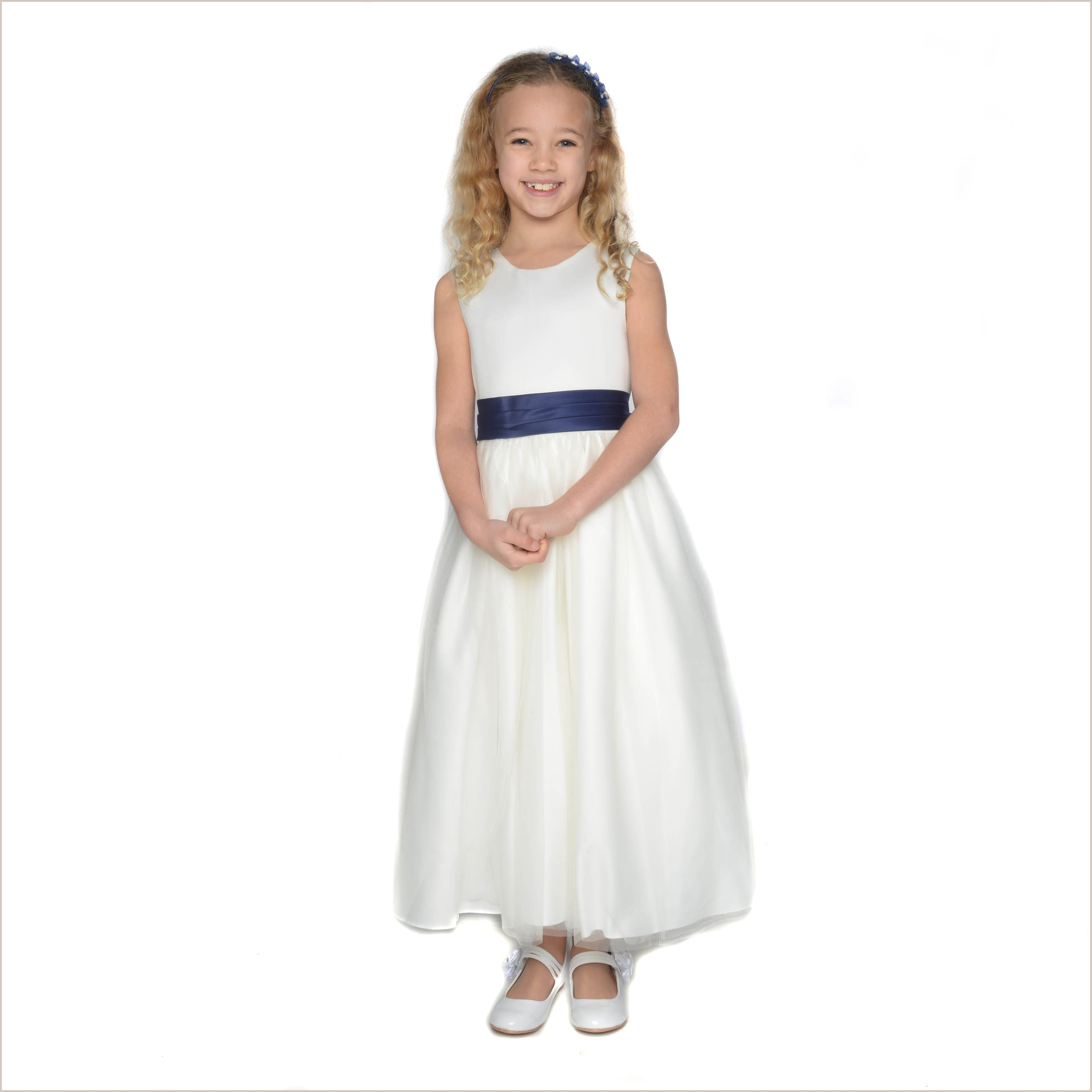 Vienna ivory tulle flower girl dress with navy sash for bridesmaid vienna ivory tulle dress with navy blue sash izmirmasajfo
