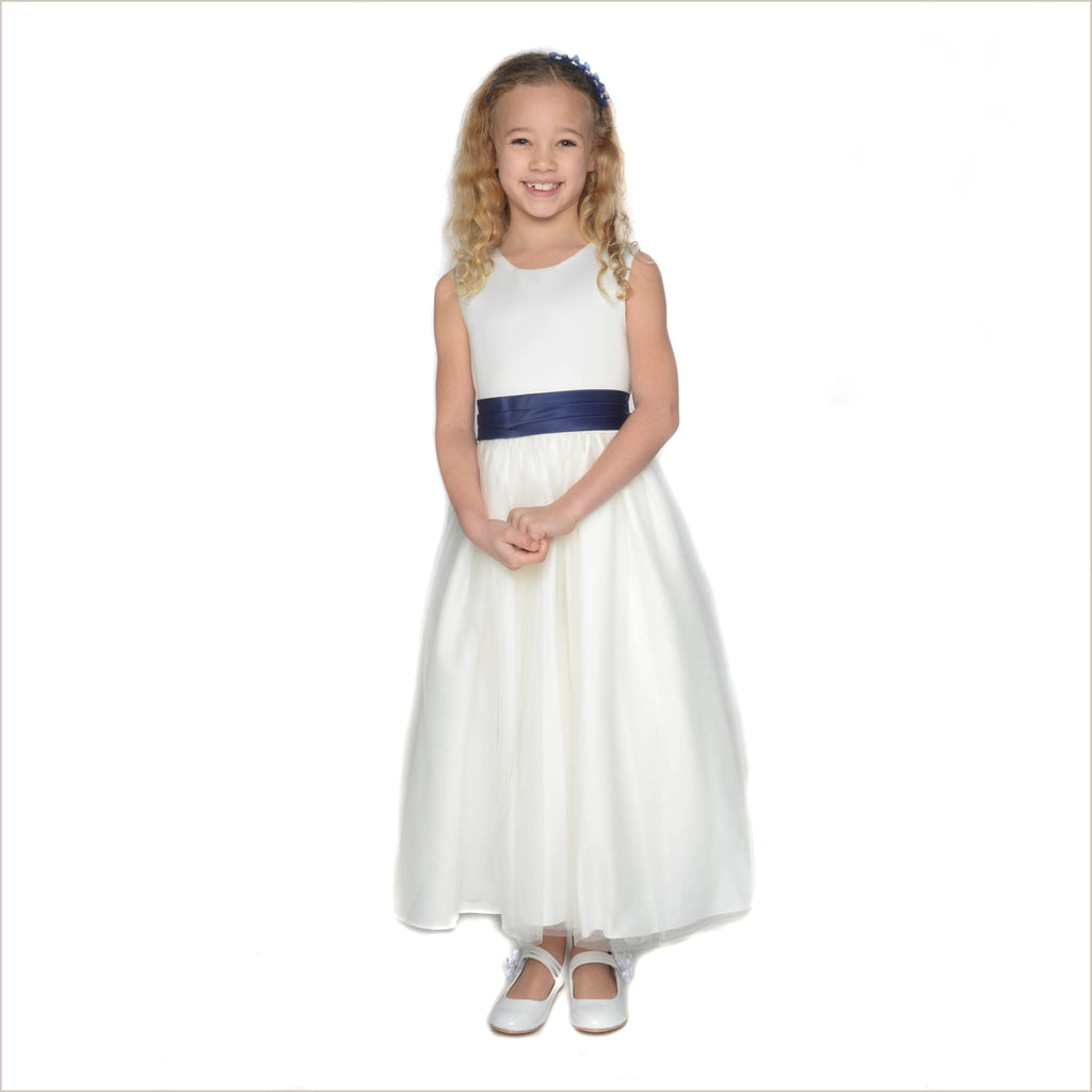 Vienna Ivory Tulle Dress with Navy Blue Sash