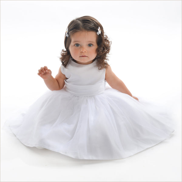 Vienna White Tulle Dress with White Sash