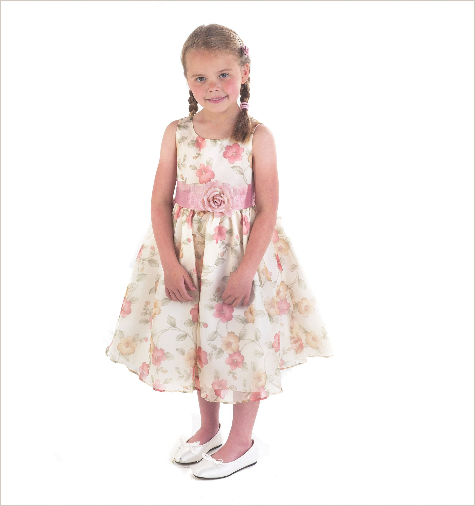 Ivy Vintage Floral Organza Flower Girl Dress In Autumn Colours