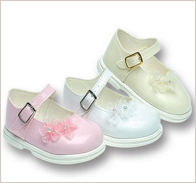 Ivory Patent Toddler Walker Shoes with Organza Flowers 705