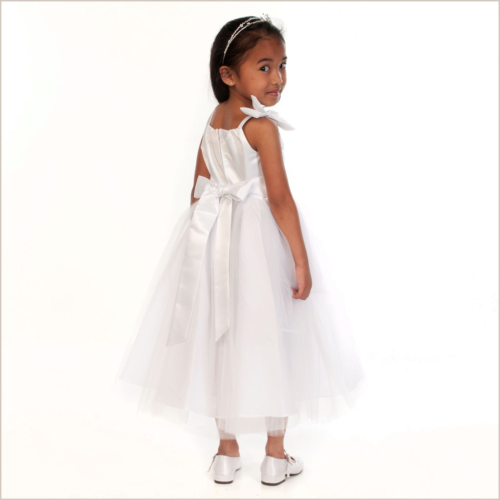 Paris White Flower Girl Dress with Pretty Bodice