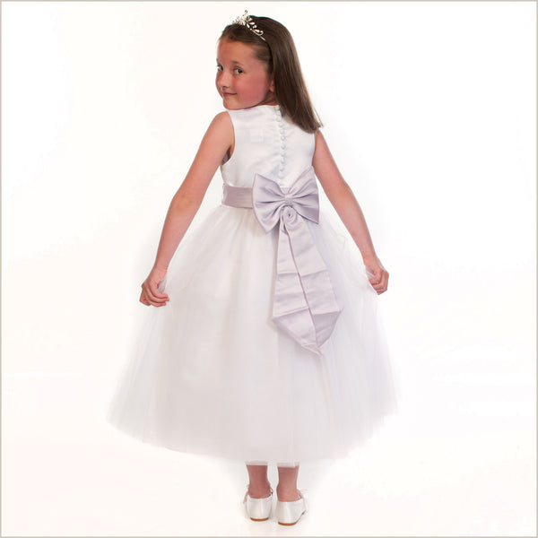 Princess White Flower Girl Dress