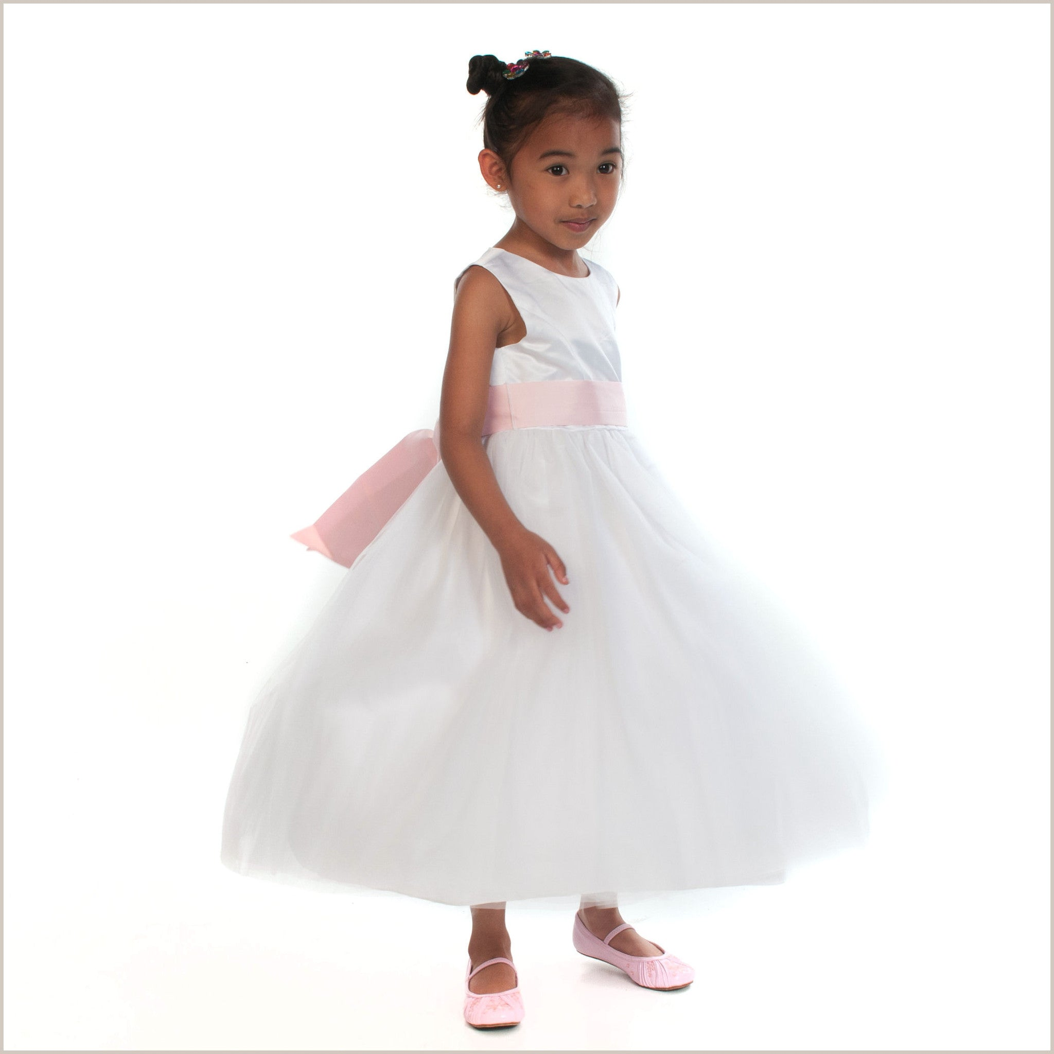 White Flower Girl Dress White Princess Removable Sash