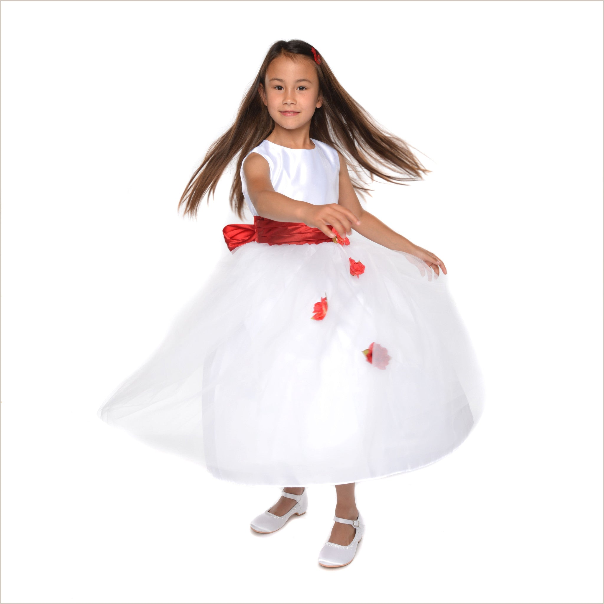 Heather white flower girl dress with red roses last ones 2y 8y only mightylinksfo
