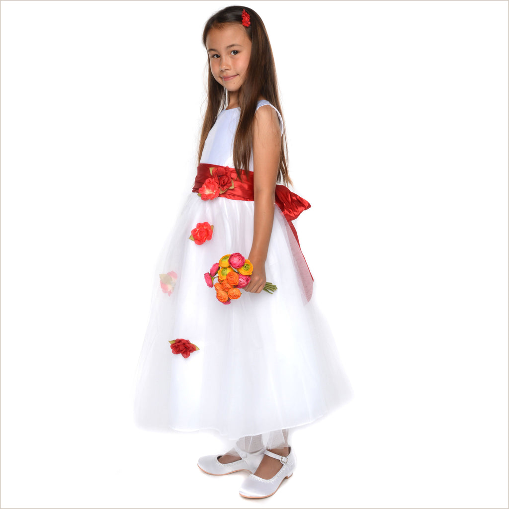 Heather white flower girl dress with red roses LAST ONES 2y & 8y ONLY