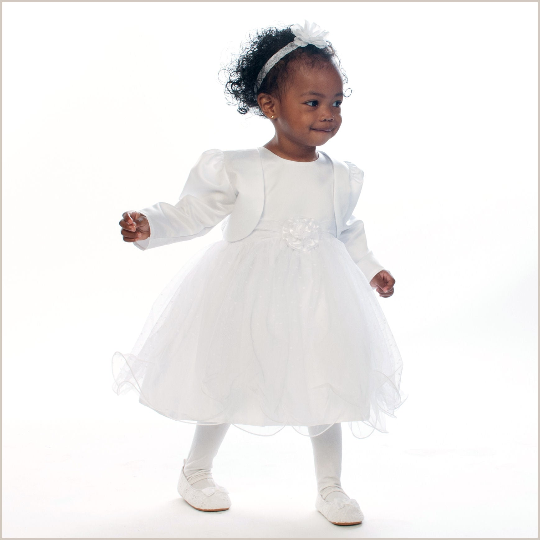 White Flower Girl Dress Jacket For Babies Toddlers And Girls Verity