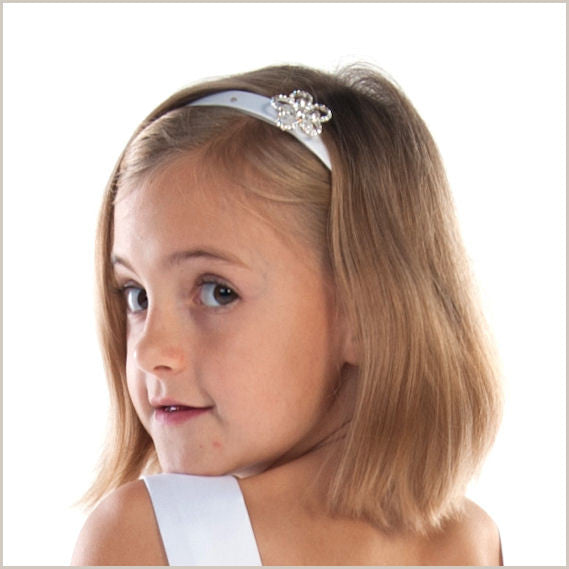 White Flower Hairband with Crystal and Diamante Flower by Linzi Jay 38bb040686a