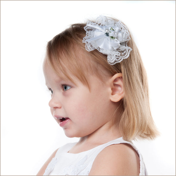 White Lace Rosette Hair Clip with Jewel and Flower Centre