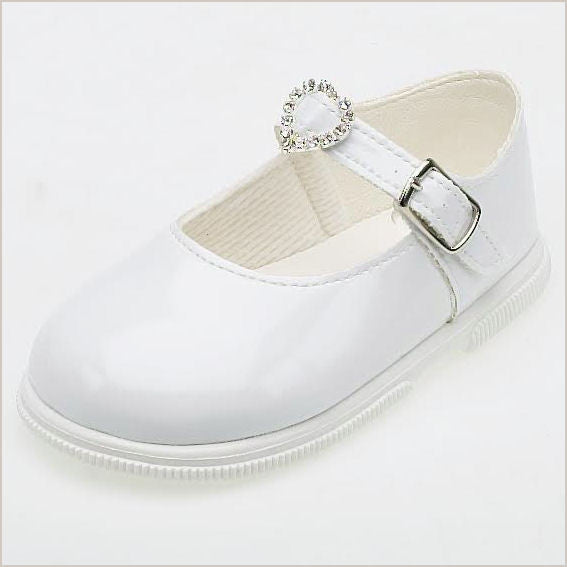 Early Days White Mary Jane Toddler Shoes with Heart Buckle 707