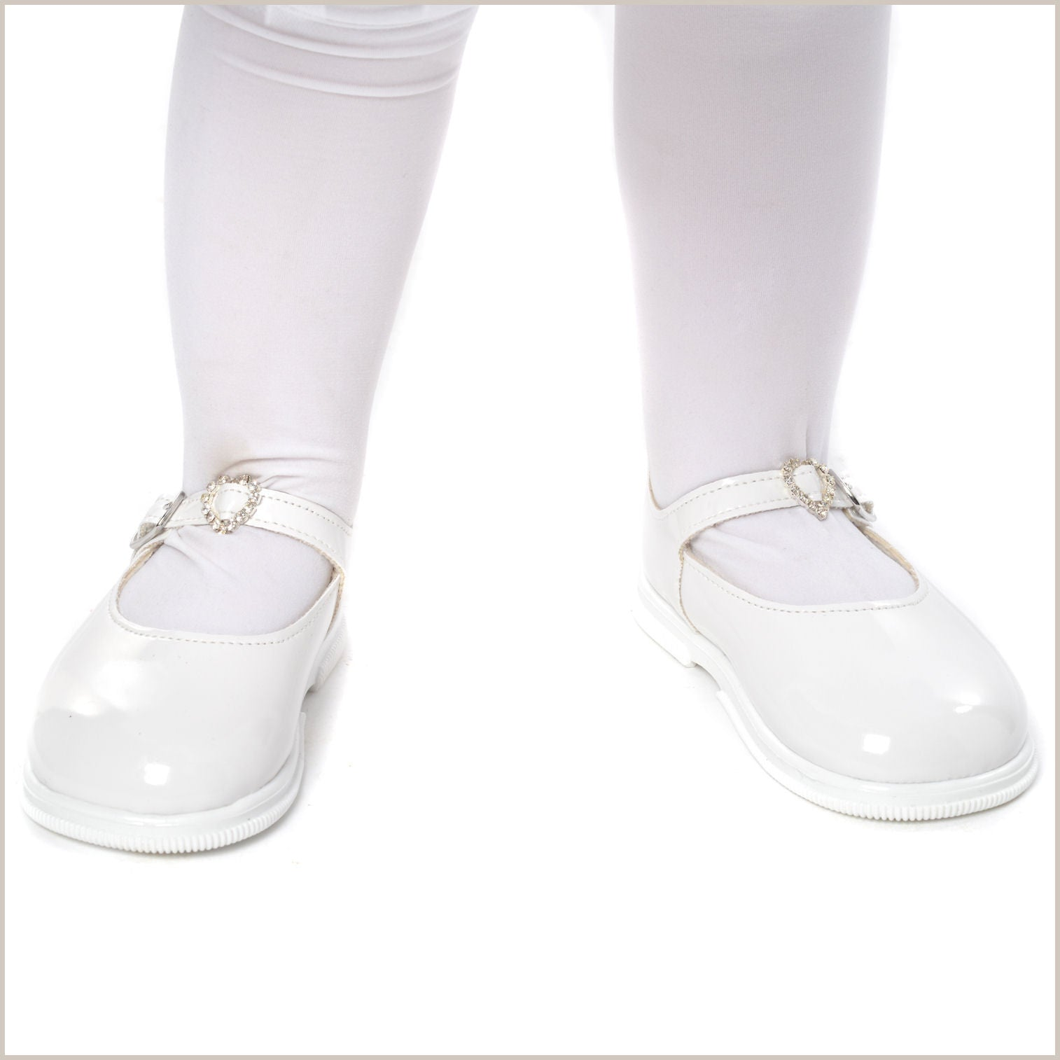 White Toddler Flower Girl Shoes With Heart Buckle