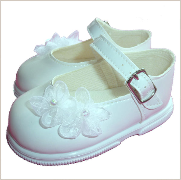 Patent Toddler Walker Shoes with Organza Flowers in White 705