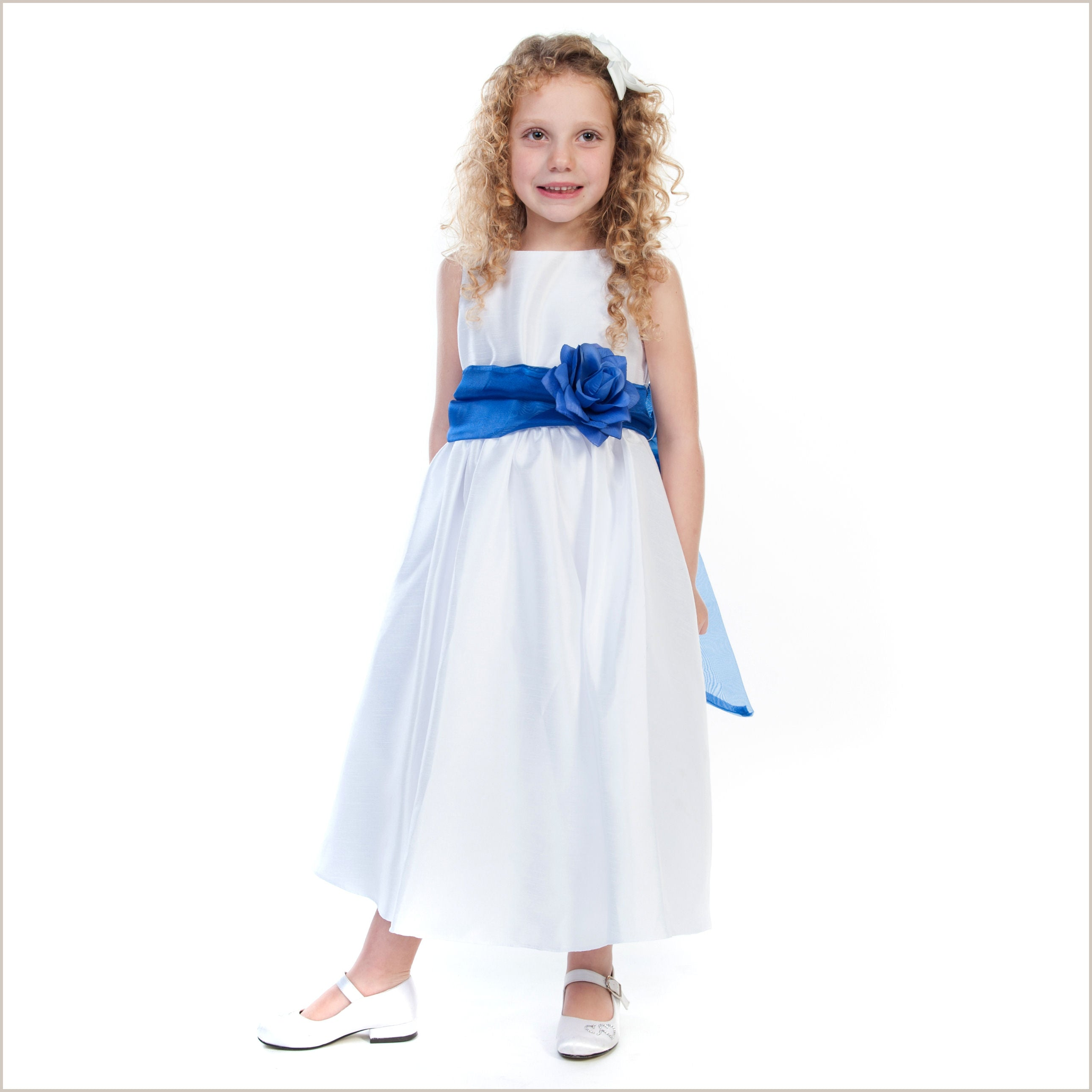 Belle white flower girl dress with choice of sash colours child belle white flower girl dress with removable sash izmirmasajfo