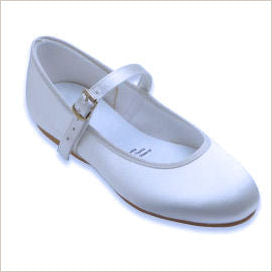 White Satin Bridesmaid Shoe with Strap