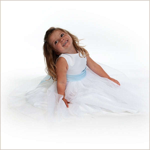 Vienna White Tulle Dress with Light Blue Sash 3, 7 & 8 years only left