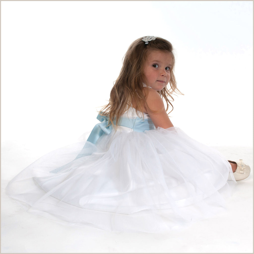 Vienna White Tulle Dress with Light Blue Sash