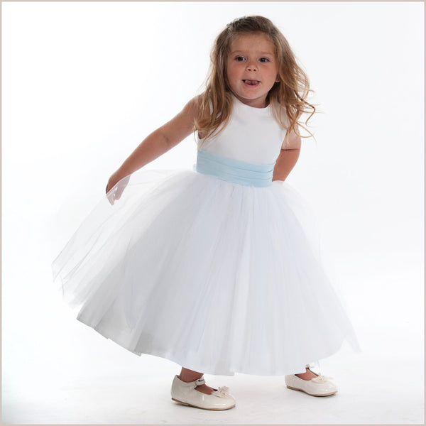 Ballerina length or tea length flower girl dresses for child vienna white tulle dress with light blue sash 7 8 years only mightylinksfo