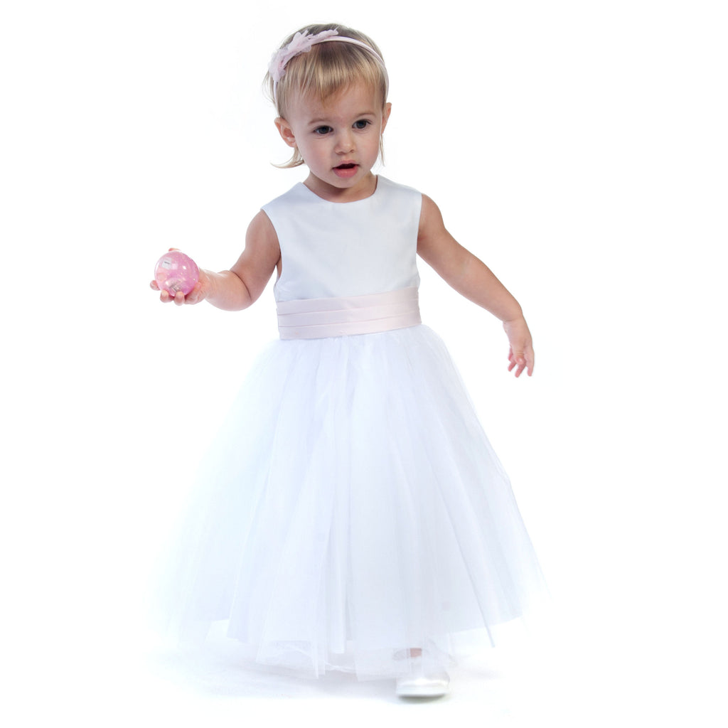 Vienna White Tulle Dress with Pink Sash