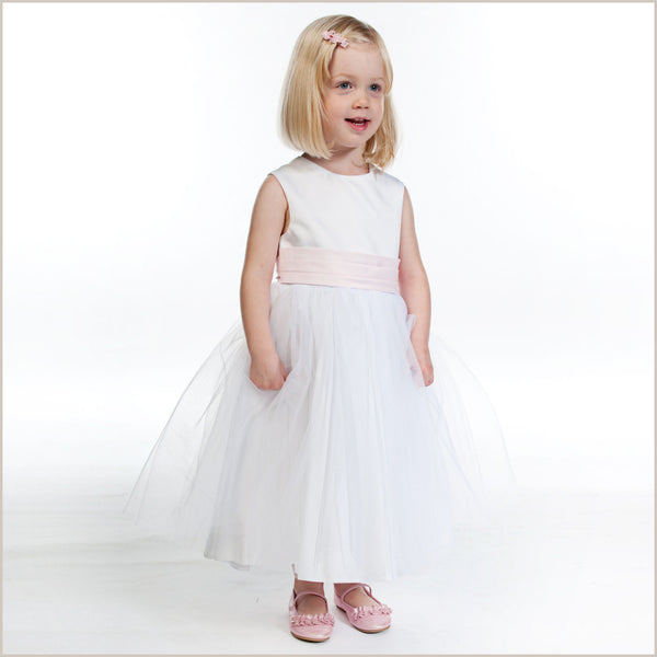 White flower girl dresses and white childrens bridesmaid dresses uk vienna white tulle dress with pink sash mightylinksfo